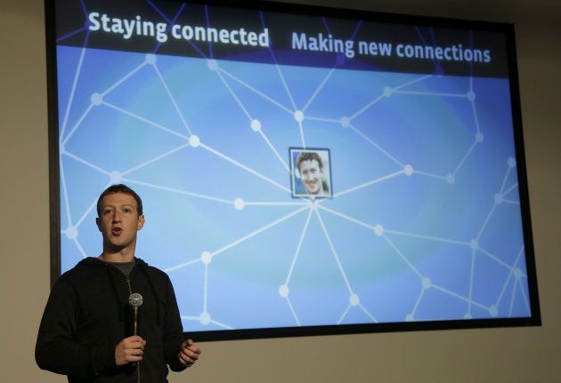 <p>               Facebook CEO Mark Zuckerberg speaks about Facebook Graph Search at a Facebook headquarters in Menlo Park, Calif., Tuesday, Jan. 15, 2013.  The new service lets users search their social connections for information about their friends' interests, and for photos and places.  (AP Photo/Jeff Chiu)