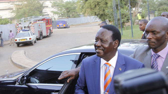 Presidential  candidate Raila Odinga arrives to take part in a televised debate between presidential contenders, in Nairobi, Kenya Monday, Feb. 11, 2013. Kenya's foreign affairs minister on Monday criticized European Union ambassadors in person for what he called an orchestrated attempt to favor a presidential candidate in Kenya's upcoming elections due to take place on March 4, in which one of the top contenders is Uhuru Kenyatta who faces charges before the International Criminal Court related to the postelection violence that killed more than 1,000 people after Kenya's last presidential election in 2007. (AP Photo/Khalil Senosi) ---------