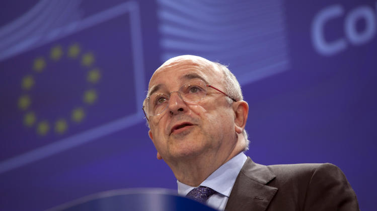 Vice-President of the European Commission Joaquin Almunia speaks during a media conference at EU headquarters in Brussels on Wednesday, Feb. 27, 2013. The European Union's antitrust authority on Wednesday blocked budget airline Ryanair's renewed bid to take over Irish carrier Aer Lingus on grounds that it would undermine competition. (AP Photo/Virginia Mayo)