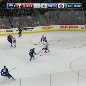 Colin Greening Hit on Andrew Ladd (03:54/2nd)
