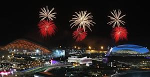 Fireworks are seen over the Olympic Park during the rehearsal of the opening ceremony at the Adler district of Sochi