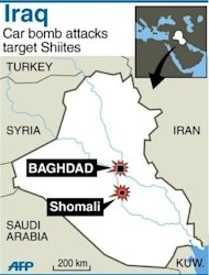 Map of Iraq locating car bomb attacks in Baghdad and Shomali. A spate of car bombs in Shiite areas of Iraq, including two blasts minutes apart at a popular bird market, killed at least 33 people, the latest spike in violence amid a simmering political crisis