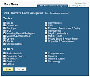 Yahoo! Finance News lets user customize which categories of news stories appear where on the web page