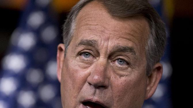 """FILE - In this Aug. 1, 2013 file photo, House Speaker John Boehner of Ohio speaks during a news conference on Capitol Hill in Washington. The accomplishments are few, the chaos plentiful in the 113th Congress, a discourteous model of divided government. """"Have senators sit down and shut up, okay?'' Senate Majority Leader Harry Reid blurted out as lawmakers milled about noisily at a time Sen. Susan Collins was trying to speak. There was political calculation even in that. Democrats knew the Maine Republican was about rip into her own party's leadership. (AP Photo/J. Scott Applewhite, File)"""