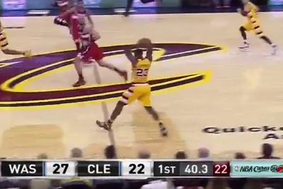 LeBron James threads a half-court bounce pass through two defenders