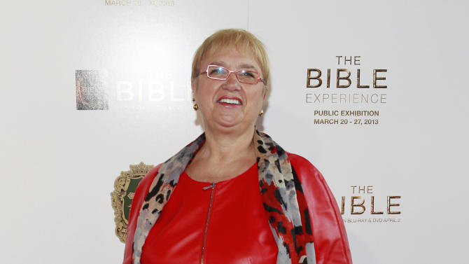 Chef Lidia Bastianich poses on the red carpet during the celebration of the April 2 Blu-ray, DVD, and Digital HD release of THE BIBLE from Twentieth Century Fox Home Entertainment  during The Bible Experience opening night gala, a rare exhibit of biblical artifacts, in New York City on Tuesday, March 19 in New York. (Photo by Mark Von Holden/Invision for Fox Home Entertainment/AP Images)