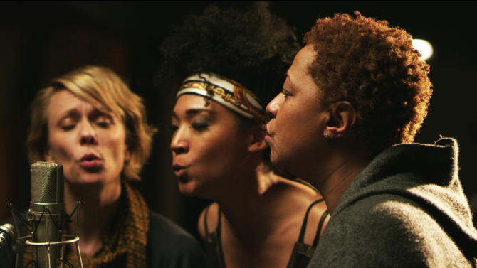 """This undated publicity photo released by Radius-TWC shows, from left, Jo Lawry, Judith Hill and Lisa Fischer in a scene from the film, """"Twenty Feet From Stardom."""" (AP Photo/Radius-TWC, Graham Willoughby)"""
