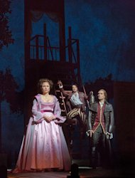 "In this Dec. 14, 2012 publicity photo, from left, Isabel Leonard as Rosina, Rodion Pogossov as Figaro and Alek Shrader as Count Almaviva are seen in Rossini's ""The Barber of Seville,"" during rehearsal at the Metropolitan Opera in New York. (AP Photo/Metropolitan Opera, Ken Howard)"