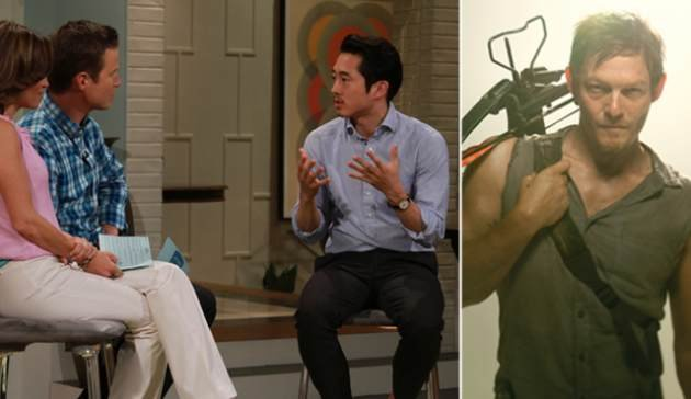 Steven Yeun on Access Hollywood Live (left); Norman Reedus as Daryl Dixon in &#39;The Walking Dead&#39; (right) -- Access Hollywood