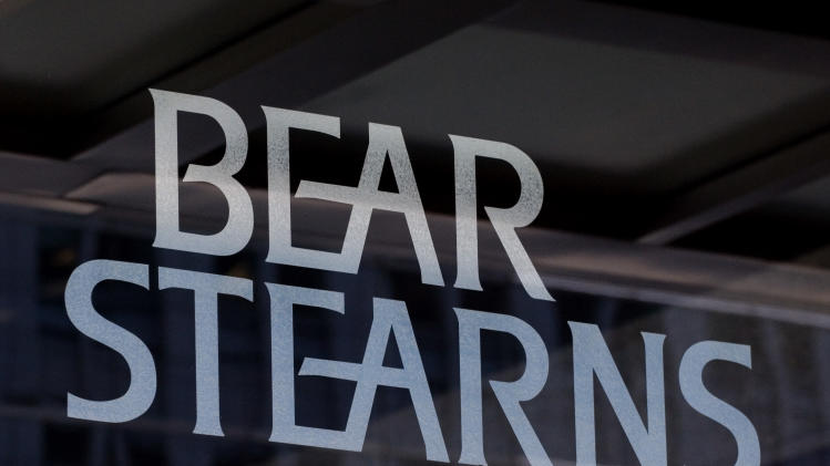 FILE - In this July 18, 2007 file photo, the logo for Bear Stearns is shown at its corporate headquarters in New York. The New York attorney general's office has hit JPMorgan Chase & Co. with a civil lawsuit, alleging that investment bank Bear Stearns — prior to its collapse and subsequent sale to JPMorgan in 2008 — perpetrated massive fraud in deals involving billions in residential mortgage-backed securities.  (AP Photo/Mark Lennihan, File)