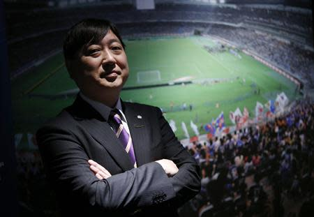 President of the professional soccer club Sanfrecce Hiroshima, Kaoru Koyano, poses for a photo at the Japan Football Museum in Tokyo