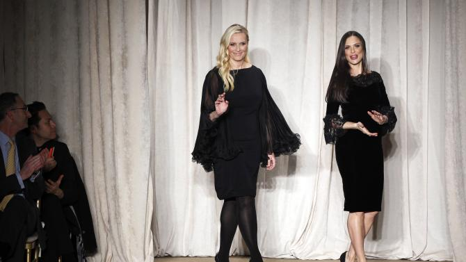 Designers Georgina Chapman and Keren Craig acknowledge the audience after a presentation of the Marchesa Autumn/Winter 2013 collection during New York Fashion Week