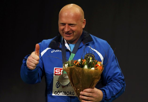 Alic of Bosnia and Herzegovina celebrates his silver medal on the podium after the men's Shot Put event at the European Athletics Indoor Championships in Gothenburg