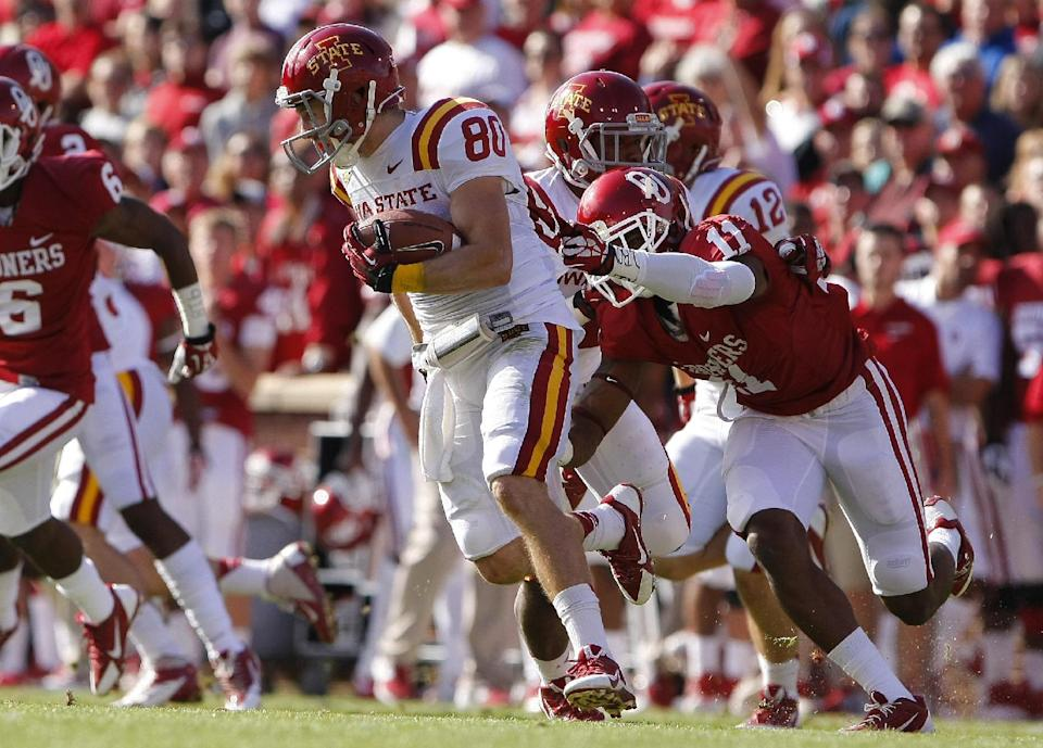 No. 22 Oklahoma routs Iowa State 48-10