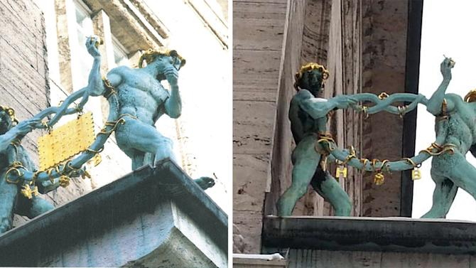 The combo photo released by Police in Hannover, northern Germany, Tuesday, Jan. 29, 2013 shows a statue gracing the facade of German cookie baker Bahlsen's Hannover office before and after the rectangular gilded bronze sculpture was taken away. A police statement said a local newspaper received a picture Tuesday, Jan 29, 2013 showing someone in an outfit similar to Sesame Street's Cookie Monster holding a golden cookie. The sender wrote to demand cookies be delivered to children at a city hospital. (AP Photo/Police Hannover)