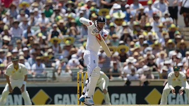 England's James Anderson loses his wicket to the bowling of Australia's Peter Siddle (not pictured) during day three of the Third Test at the WACA ground, Perth