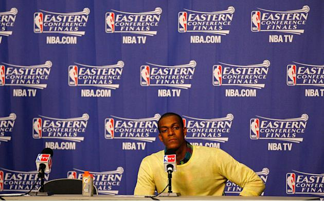 Rajon Rondo #9 Of The Boston Celtics Speaks Getty Images
