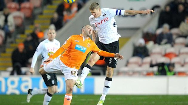 Brede Hangeland, right, netted Fulham's extra-time winner at Blackpool