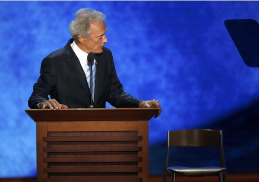 Actor Clint Eastwood addresses an empty chair and questions it as if it were President Barack Obama as he endorses Republican presidential nominee Mitt Romney during the final session of the Republican National Convention in Tampa