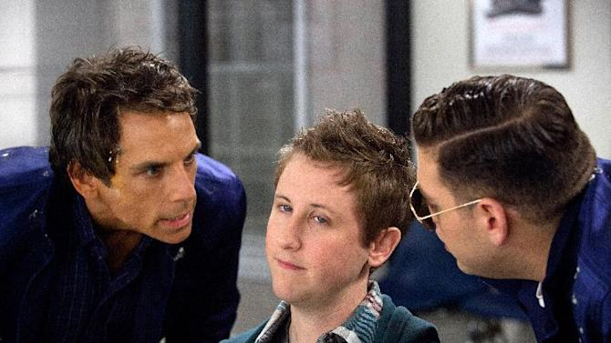 """This film image released by 20th Century Fox shows, from left, Ben Stiller, Johnny Pemberton and Jonah Hill in a scene from """"The Watch."""" (AP Photo/20th Century Fox, Melinda Sue Gordon)"""