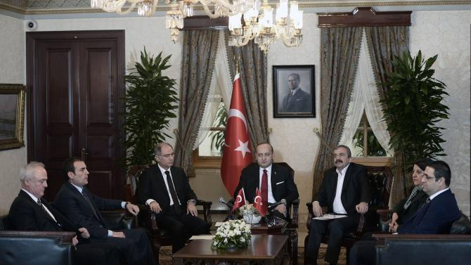 Turkey's Deputy PM Akdogan, accompanied by Interior Minister Ala meets with pro-Kurdish HDP party lawmakers Onder, Buldan and Baluken in Istanbul