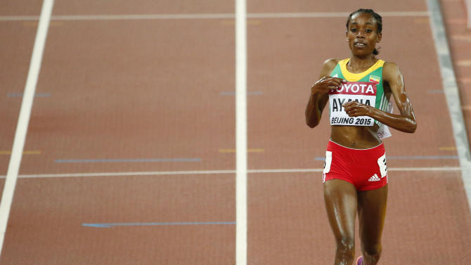 Ayana wins the women's 5000 metres final at the 15th IAAF Championships at the National Stadium in Beijing