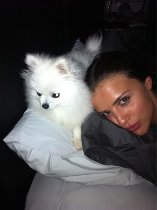 Celebrity Twitpics: TOWIE's Lucy Mecklenburgh added to her brood of dogs with this cute pooch, Lola, last week. This week Lucy tweeted a cute photo of the pair snuggled up in bed.