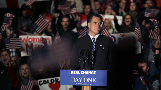 Republican presidential candidate, former Massachusetts Gov. Mitt Romney, pauses during a speech at a campaign rally in Greenwood Village, in south Denver, Colo., Saturday, Nov. 3, 2012. (AP Photo/Brennan Linsley)