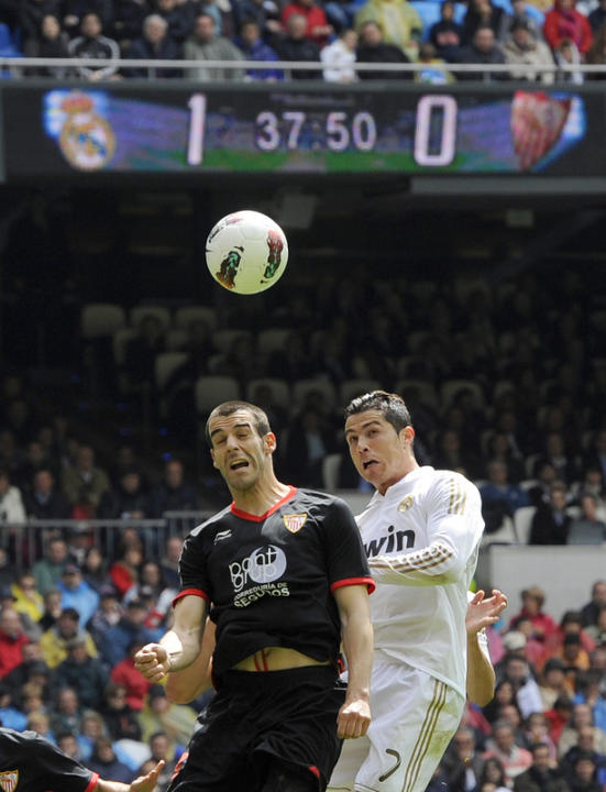 Sevilla's Forward Alvaro Negredo (L) Vies AFP/Getty Images