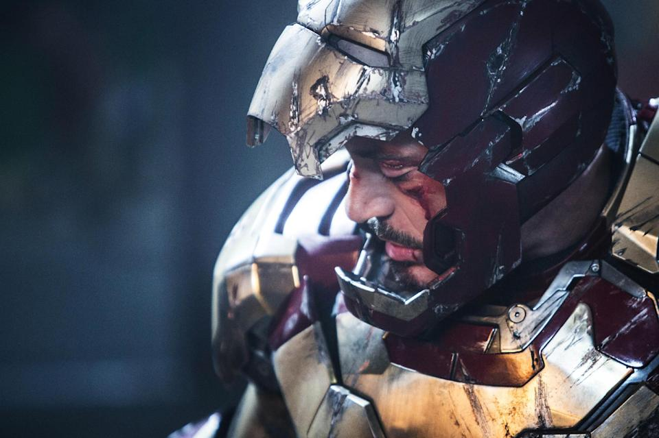 "This undated publicity photo released by Marvel shows Robert Downey Jr. as Tony Stark/Iron Man in a scene from Marvel's ""Iron Man 3."" The movie releases in the USA on May 3, 2013.(AP Photo/Marvel, Zade Rosenthal)"
