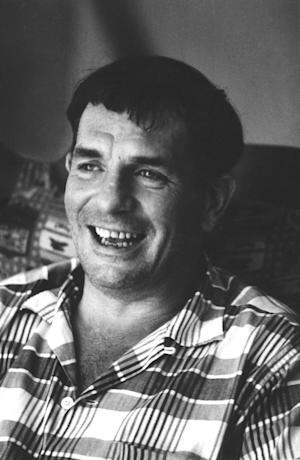 "FILE - In this 1967 file photo, author Jack Kerouac is shown in Lowell, Mass. Kerouac's only full-length play will be staged for the first time this fall. Merrimack Repertory Theatre and the University of Massachusetts Lowell said Monday _ on what would have been Kerouac's 90th birthday _ that they will produce the three-act play called ""Beat Generation"" in the novelist's hometown of Lowell, Mass.  Kerouac died in 1969. (AP Photo/Stanley Twardowicz, File)"