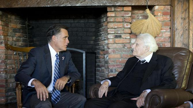 Republican presidential candidate, former Massachusetts Gov. Mitt Romney meets with Rev. Billy Graham, Thursday, Oct. 11, 2012, in Montreat, N.C.  (AP Photo/ Evan Vucci)