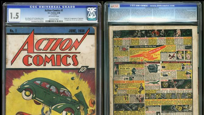 """FILE - In this file image provided by Metropolis Collectibles/ComicConnect, Corp., shows the front and back cover of """"Action Comics No. 1"""" from 1938, featuring the debut of Superman. The rare copy of the comic book featuring Superman's first appearance that went undiscovered for over 70 years in the insulation of a Minnesota house has sold for $175,000. (AP Photo/Metropolis Collectibles, Inc./ComicConnect, Corp.)"""