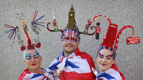 Models Juliet Cooke (L), Chris Wilkinson and Josie Todd wear a hair sculpture depicting team GB and London landmarks on August 9, 2012 in London, England. Created by Catalonian performance artists Osadia, these sculpted hair pieces are a tribute the success of Team GB in the London 2012 Olympics and will be touring London as part of Showtime a large London outdoor arts festival. (Photo by Peter Macdiarmid/Getty Images)