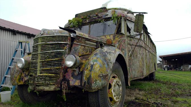"FILE - This Dec. 7, 2005 file photo shows the 1939 International bus that author Ken Kesey and the Merry Pranksters drove into psychedelic history in 1964 on the Kesey family farm in Pleasant Hill, Ore. The Kesey family said Friday it is reviving efforts to restore the bus in time for it to take part in next year's 50th annivesary of its orginal trip. made famous in Tom Wolfe's 1968 book ""The Electric Kool-Aid Acid Test."" (AP Photo/ Jeff Barnard, File)"