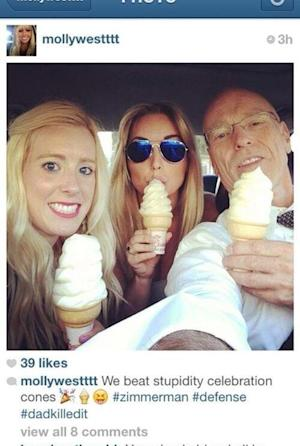 In this undated photo posted on Instagram, George Zimmerman defense attorney Don West, right, eats ice cream with his daughters. Prosecutors have asked a judge in the George Zimmerman trial to conduct an inquiry into the Instagram photo, but the lawyer said Tuesday, July 2, 2013, that it was unrelated to testimony in the case. Social media has become inextricably tied to daily life, a fact reflected by its presence in Zimmerman's murder trial. The trial is a top trend almost daily, with thousands of people tweeting their thoughts with the hashtag #ZimmermanTrial. (AP Photo, File)