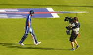 Alastair Cook leaves the field after being dismissed second ball by Lonwabo Tsotsobe