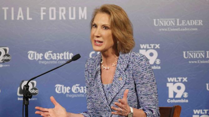 Republican U.S. presidential candidate and former Hewlett-Packard CEO Carly Fiorina participates in the Voters First Presidential Forum in Manchester