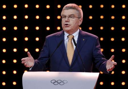 International Olympic Committee's (IOC) President Thomas Bach speaks during the Almaty 2022 Presentation at the 128th IOC Session in Kuala Lumpur