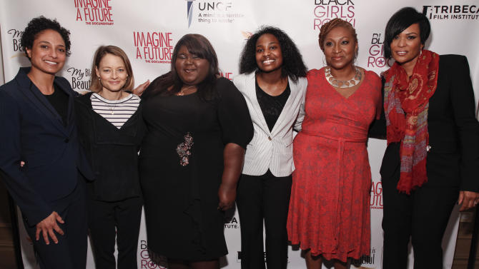 "IMAGE DISTRIBUTED FOR PROCTER & GAMBLE - From left, Director Shola Lynch, actress and director Jodie Foster, actress Gabourey Sidibe, documentary lead Janet Goldsboro, director and producer Lisa Cortes, and executive producer Beverly Bond are seen at the premiere of the ""Imagine a Future"" documentary presented by P&G's My Black is Beautiful on Sunday, April 21, 2013, in New York City, NY. (Brian Ach /AP Images for Procter & Gamble)"