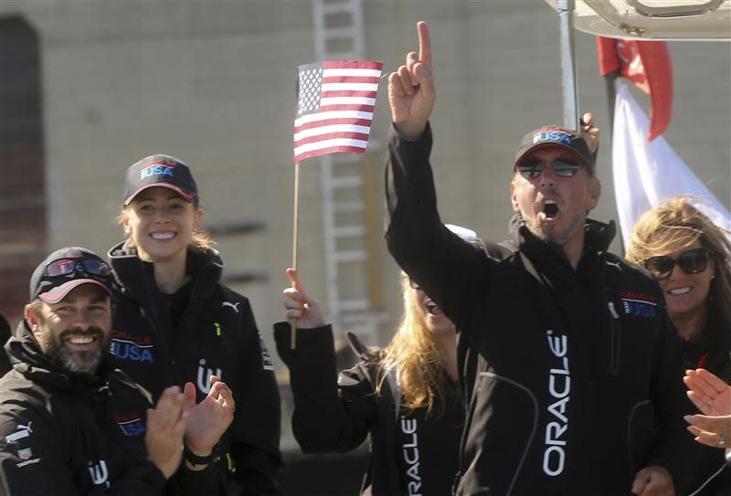 Oracle CEO Ellison reacts after Oracle Team USA defeated Emirates Team New Zealand during Race 18 Emirates during Race 18 of 34th America's Cup yacht sailing race in San Francisco