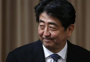 Japan's Prime Minister Shinzo Abe attends a seminar on Japan-UK security cooperation in Tokyo