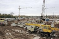 This picture released on January 26, 2013 by Fc Mordovia shows a construction site of a new football stadium in Saransk, the capital of Russia&#39;s republic of Mordovia. &quot;When Saransk was named as the host city we were all happy. It wasn&#39;t just recognition of our services, it was a breakthrough for further economic development of the region,&quot; Vladimir Volkov, the head of the Mordovia region told AFP
