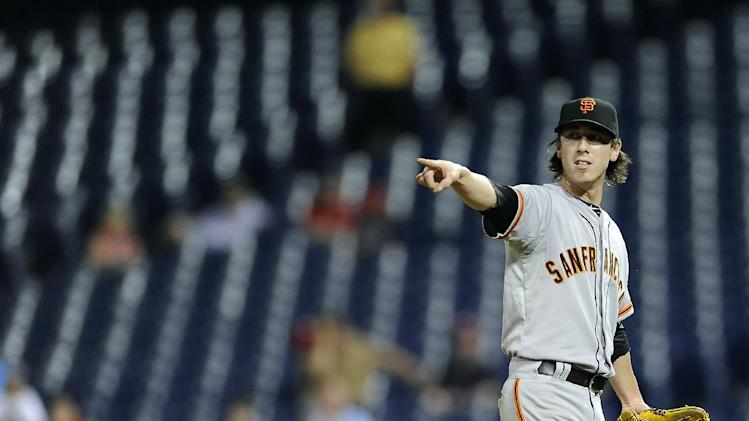 San Francisco Giants' Tim Lincecum is seen during a baseball game against the Philadlephia Phillies on Tuesday, July 22, 2014, in Philadelphia. (AP Photo/Michael Perez)