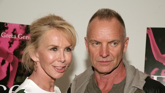 """FILE - This May 9, 2013 file photo shows musician Sting, right, and his wife, actress Trudie Styler at the premiere of """"Frances Ha"""" in New York. Styler, the former member of the Royal Shakespeare Company, has only lately returned to the stage after many years as a film producer, businesswoman, philanthropist, environmentalist and yoga instructor. (Photo by Andy Kropa/Invision/AP, File)"""