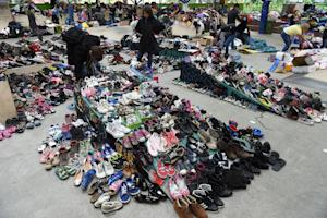 Shoes and clothes collected for migrants are collected…