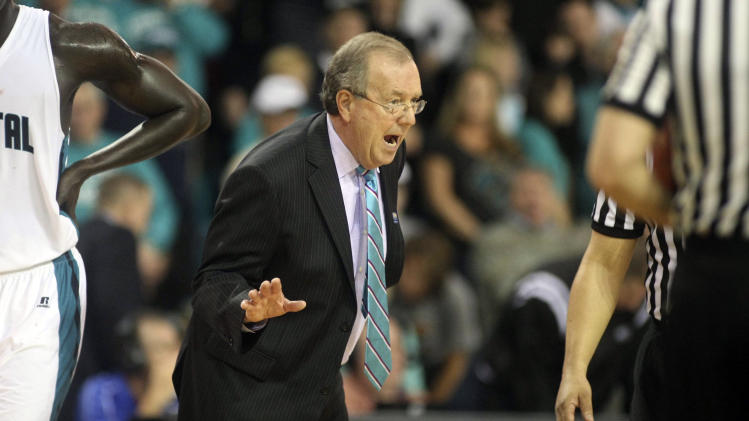 Coastal Carolina head coach Cliff Ellis argues a call with the referee during the Big South championship NCAA college basketball game against Winthrop in Conway, S.C., on Sunday, March 9, 2014. (AP Photo/Willis Glassgow)