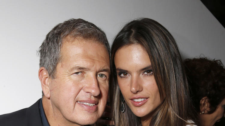 Mario Testino and Alessandra Ambrosio celebrate the Peruvian native's Fashion Icon Exhibit with cocktails by Porton at Prism on Saturday February 23, 2013 in Los Angeles. (Photo by Todd Williamson/Invision for Porton/AP)