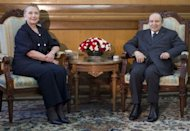 Algerian President Abdelaziz Bouteflika meets with US Secretary of State Hillary Clinton at the Mouradia Palace in Algiers. Clinton Monday pressed Bouteflika to support possible military action in neighbouring Mali, where Islamists control large areas of the north