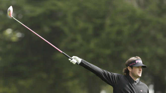 Bubba Watson reacts to his drive on the 16th hole during the first round of the U.S. Open Championship golf tournament Thursday, June 14, 2012, at The Olympic Club in San Francisco. (AP Photo/Charlie Riedel)